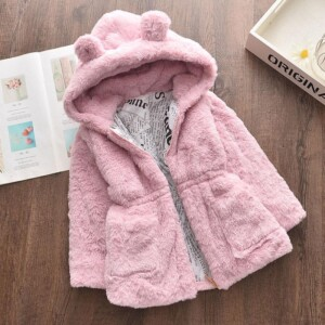 Solid Plush Puffer Jacket for Toddler Girl
