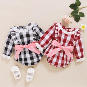 Plaid Lace Bodysuit for Baby Girl