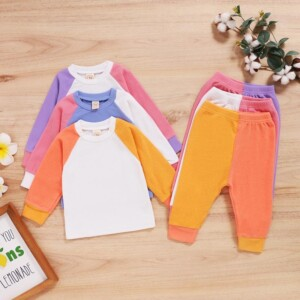 2-piece Color-block Sweatshirts & Pants for Baby