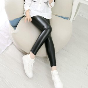 Slim-fit Solid Color Leather Pants Leggings for Kid Girl