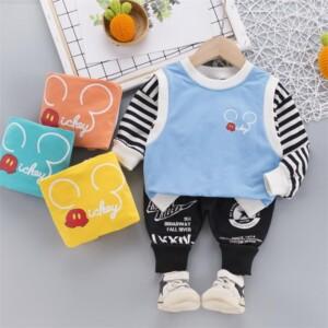 2-piece Cartoon Design Stripes Sweatshirt & Pants for Toddler Boy