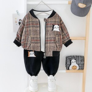 2-piece Cat Pattern Coat & Pants for Toddler Boy