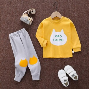 2-piece Color-block Letter Pattern Pajamas Sets for Toddler Boy