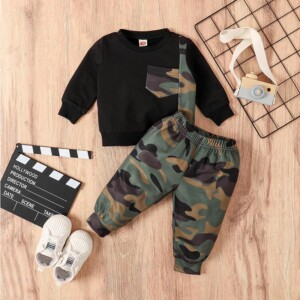 2-piece Camouflage Sweatshirts & Pants for Baby Boy