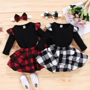 3-piece Solid Bodysuit & Plaid Dress & Headband for Baby Girl
