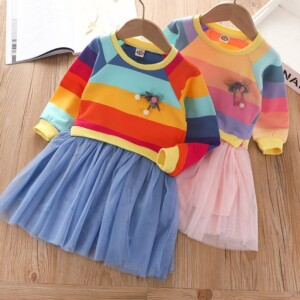 Color-block Patchwork Tulle Dress for Toddler Girl