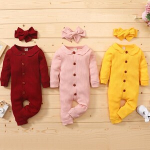 2-piece Solid Knit Jumpsuit & Headband for Baby Girl