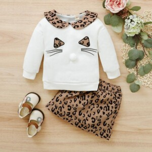 2-piece Cat Pattern Hoodie & Leopard Pattern Skirt for Toddler Girl