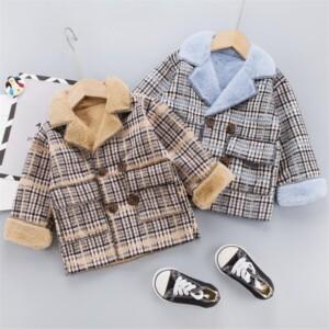 Fleece-lined Plaid Jacket for Toddler Boy