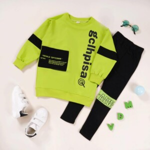 2-piece Casual Letter Pattern Sweatpants & Pants for Girl