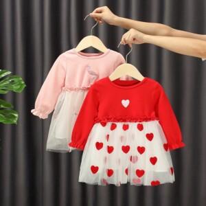 Heart-shaped Printed Dress for Toddler Girl