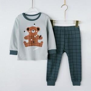 2pcs Creative Bear Printing T-shirt and Plaid Pants Suits