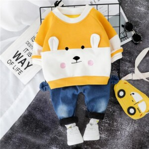 2-piece Bear Pattern Fleece-lined Hoodie & Fleece-lined Jeans for Toddler Boy