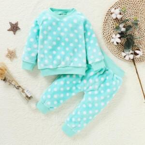 2-piece Polka Dot Fleece-lined Pajamas Sets for Toddler Girl