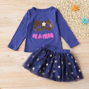 2-piece Letter Pattern Tops & Skirt for Toddler Girl