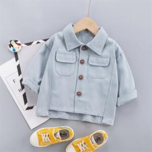 Solid Pocket Design Jacket for Toddler Boy