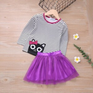 2-piece Cat Pattern Striped Sweatshirt & Skirt for Toddler Girl