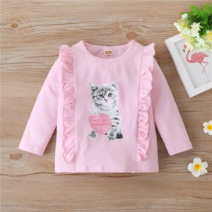 Cartoon Design Long Sleeve T-shirt for Toddler Girl
