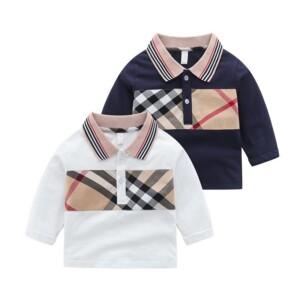 Plaid Stripes Long Sleeve T-shirt for Toddler Boy