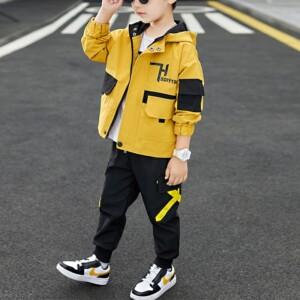 2-piece Color-block Pocket Design Coat & Pants for Boy