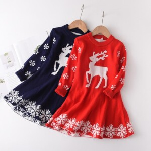 Deer Pattern Dress for Toddler Girl