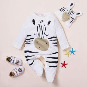 2-piece Cute Cartoon Zebra Printed Long-sleeved Jumpsuit and Hat Set for Baby