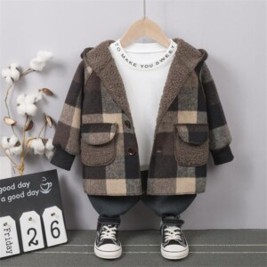 Extra Thick Plaid Duffle Coat Trench for Toddler Boy
