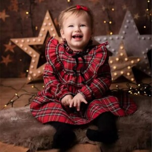 2-piece Plaid Christmas Pattern Dress Set for Toddler Girl