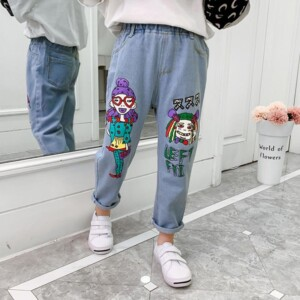 Cartoon Design Jeans for Girl