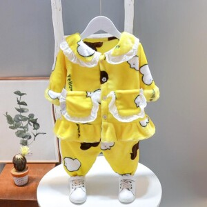 2-piece Cartoon Design Thick Pajamas Sets for Toddler Girl