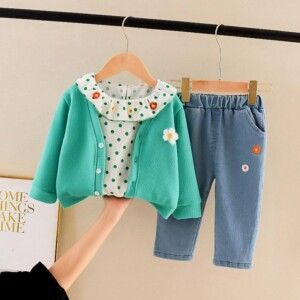3-piece Polka Dot Blouse & Cardigan & Jeans for Toddler Girl