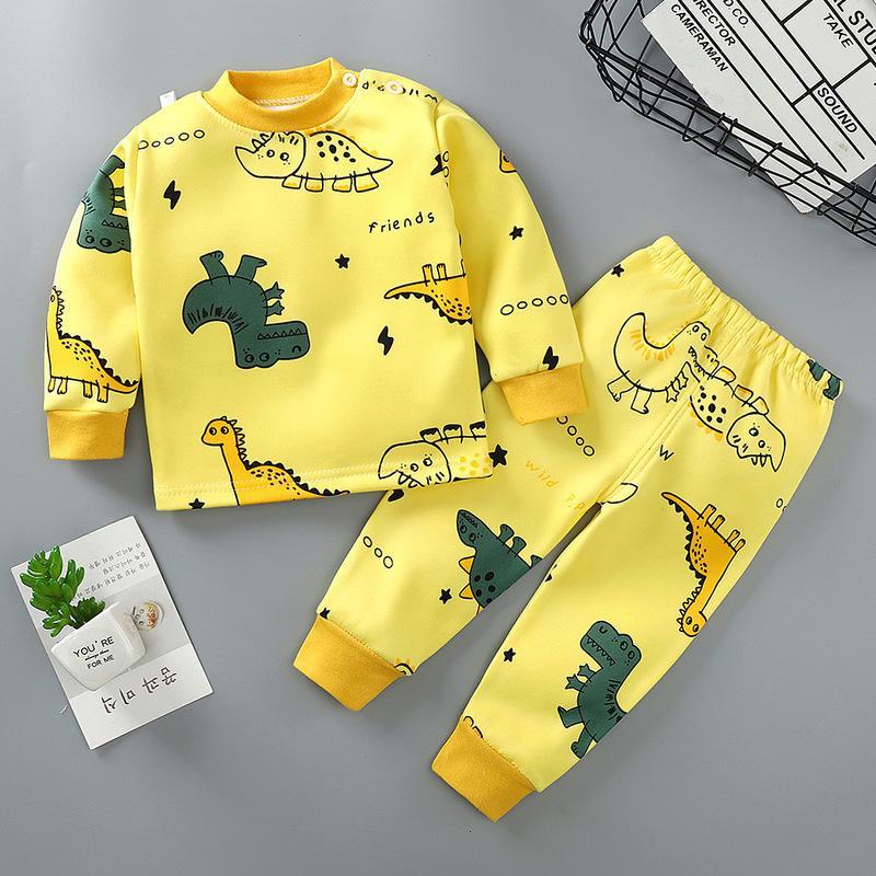 2-piece Fleece-lined Dinosaur Pattern Pajamas Sets for Toddler Boy