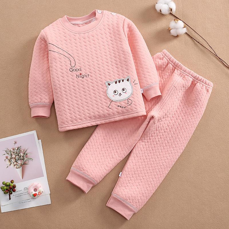 2-piece Cat Pattern Thick Pajamas Sets for Toddler Boy