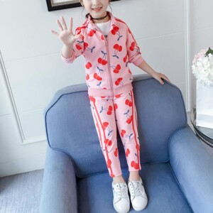2-piece Cherry Pattern Coat & Pants for Girl