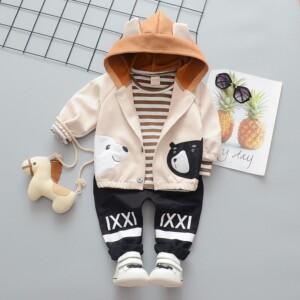 3-piece cute Coat & Sweatshirts & Pants for Toddler Boy