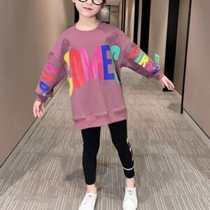 2-piece Letter Pattern Sweatshirt & Pants for Girl