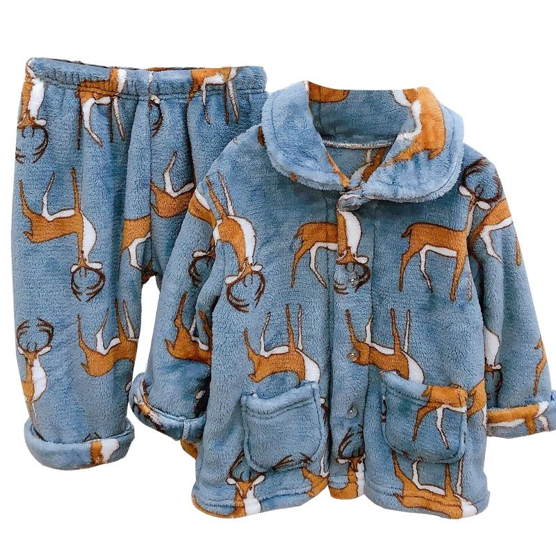 2-piece Flannel Cartoon Pattern Pajamas Sets for Toddler Girl