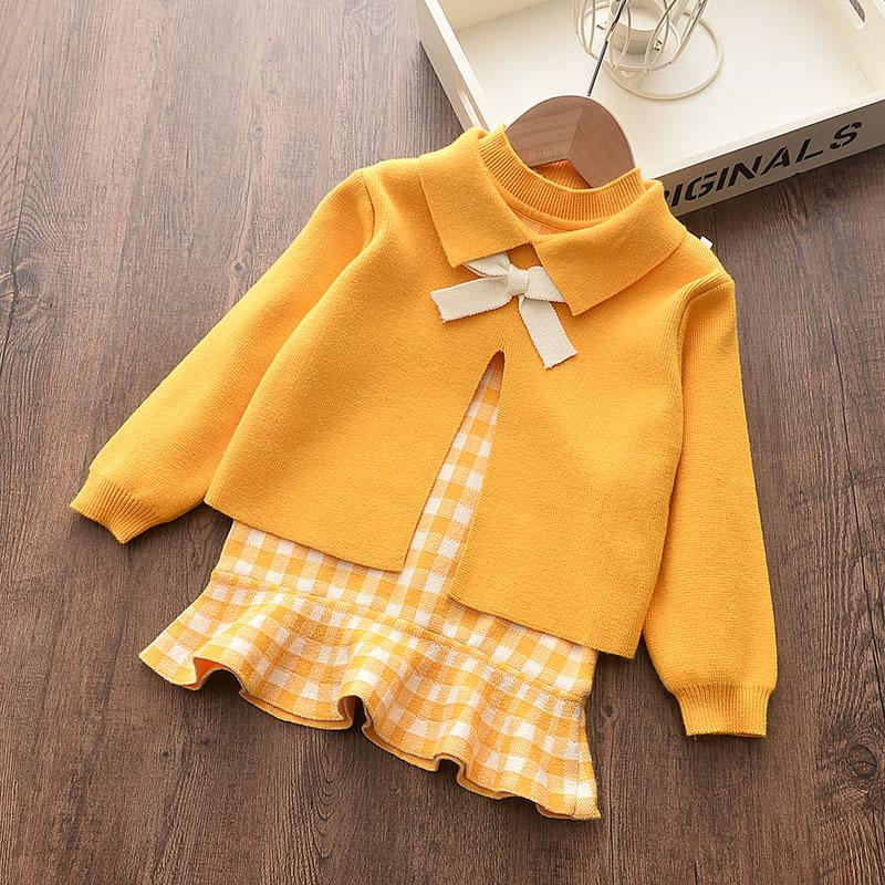 2-piece Solid Bow Decor Sweater & Sleeveless Skirt for Toddler Girl