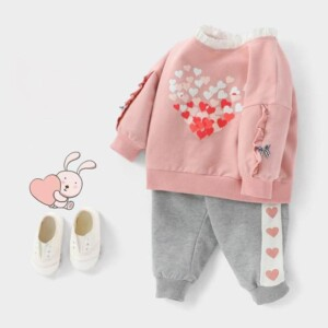 2-piece Heart-shaped Pattern Suit for Toddler Girl