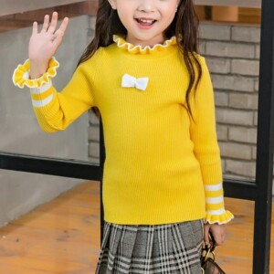Bow Solid Ruffled One Knitted Sweater for Toddler Girl