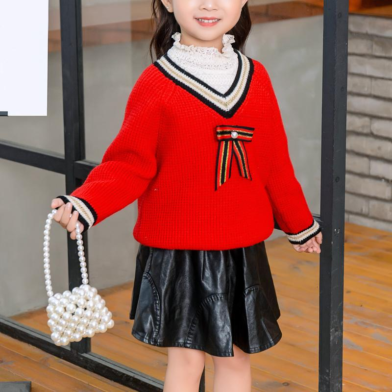 Sweetheart Collar Knitted Sweater for Toddler Girl
