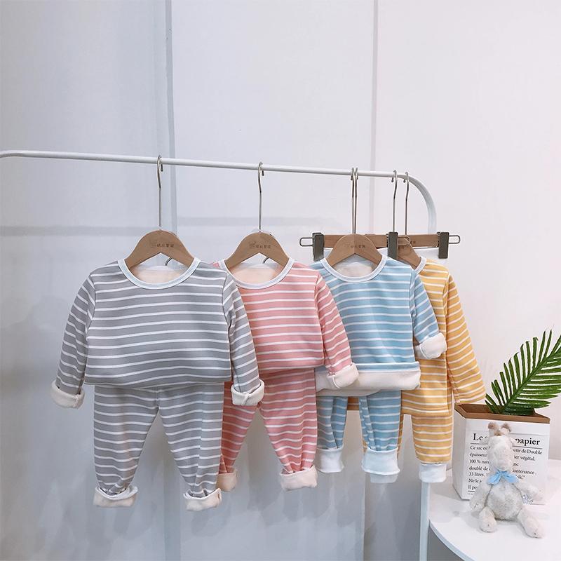 Thick Fleece-lined Stripe Pajamas Set