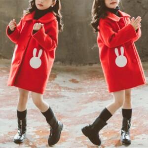 Rabbit Pattern Duffle Coat for Girl