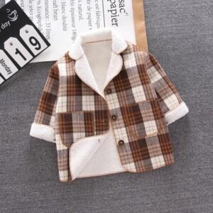 Plaid Fleece-lined Jacket for Toddler Boy