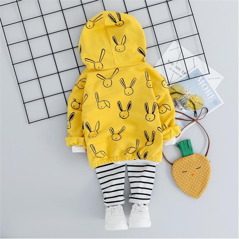 2-piece Cartoon Pattern Hoodie & Stripe Pants for Toddler Boy