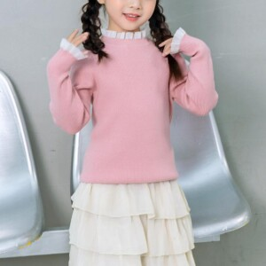 Solid Ruffled One Knitted Sweater for Toddler Girl
