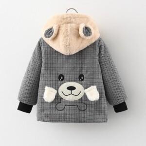 Bear Pattern Puffer Jacket for Toddler Boy