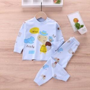 2-piece Cartoon Animal Pattern Pajamas Sets for Toddler Girl