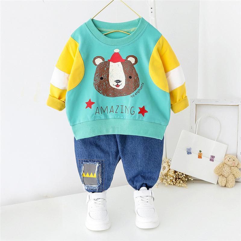 2-Piece bear Pattern Hoodie & Jens for Toddler Boy