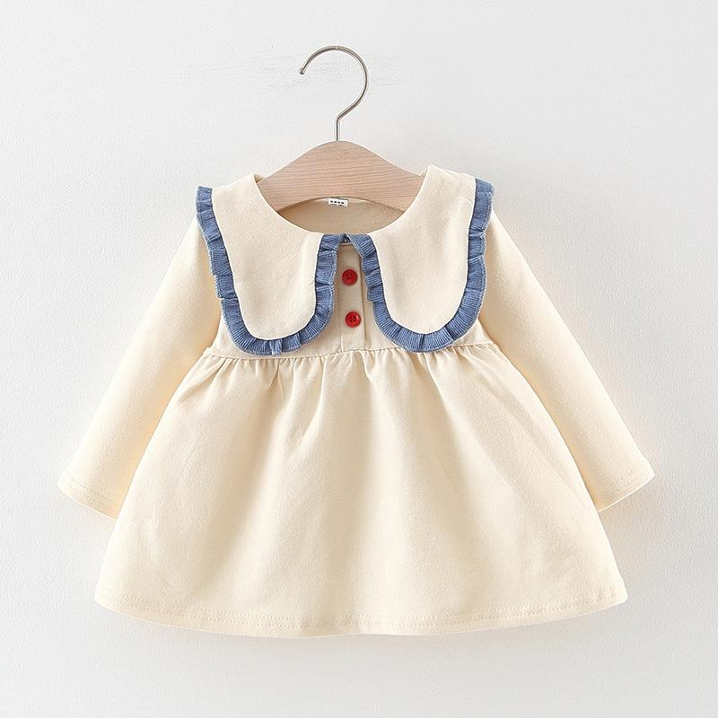 Solid lace Pattern Dress for Toddler Girl